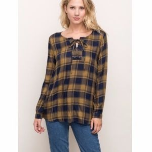 Mystree plaid lace up shirt top small